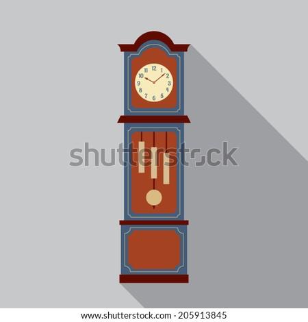 Grandfather Pendulum Clock Vector Illustration - stock vector