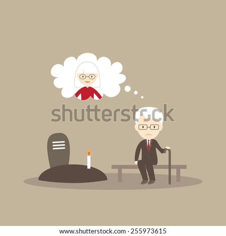 Grandfather sitting in cemetery - stock vector