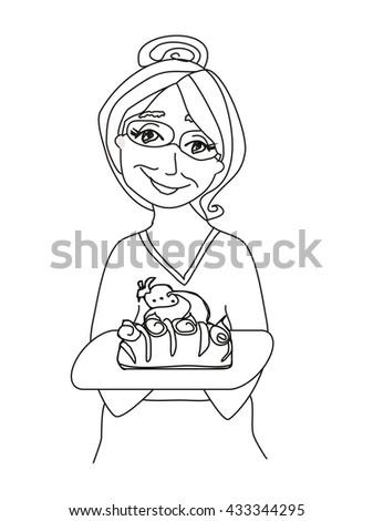 Grandma baked a delicious cake - stock vector