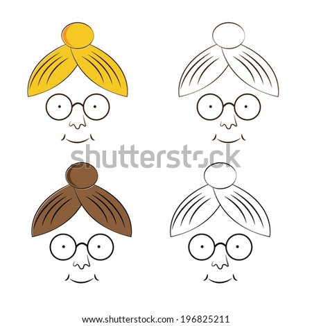 Grandma face - stock vector