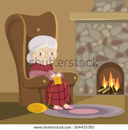Grandmother knits. Vector flat cartoon illustration - stock vector