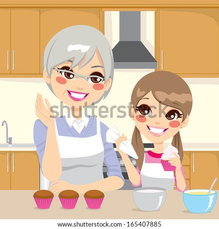 Grandmother teaching cooking to granddaughter decorating cupcakes together happily in kitchen - stock vector