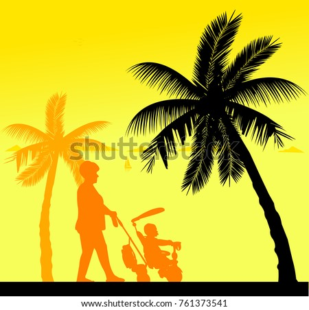 Grandmother walking with her grandson on a tricycle on the beach, one in the series of similar images silhouette