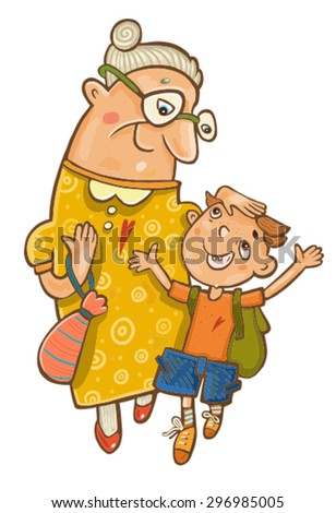 Grandmother with her grandson go and talk - stock vector