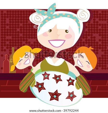 Grandmother with sweet cookies. Vector Illustration in vintage style. - stock vector