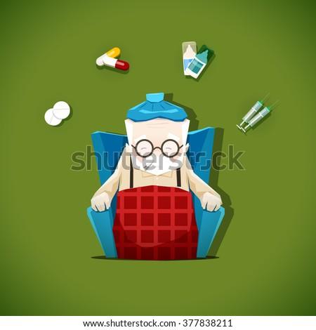 Grandpa got sick, vector illustration of a sick old man and medications - stock vector