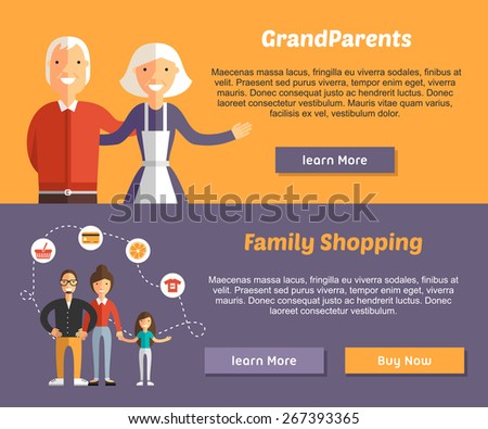 Grandparents and Family Shopping. Flat Design Illustration Concept for Web Banners - stock vector