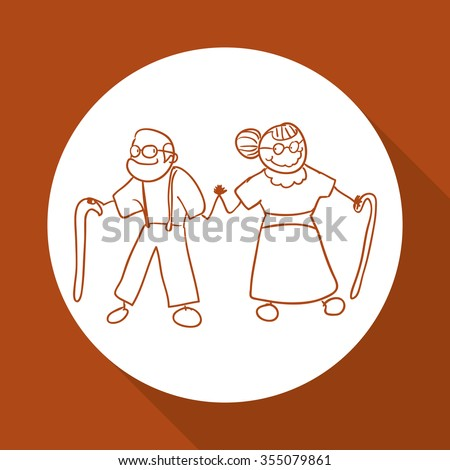 Grandparents concept with family  icons design, vector illustration 10 eps graphic.