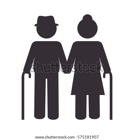 Grandparents Couple Silhouette Icon Stockvector Rechtenvrij