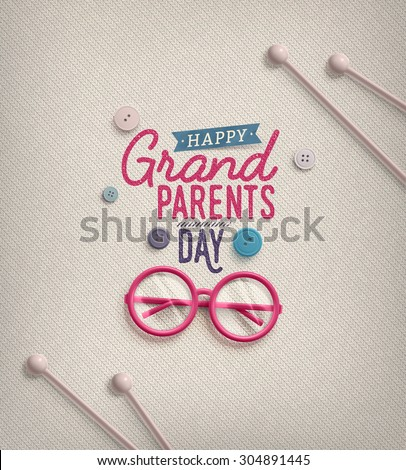Grandparents Day, greeting card, eps 10 - stock vector