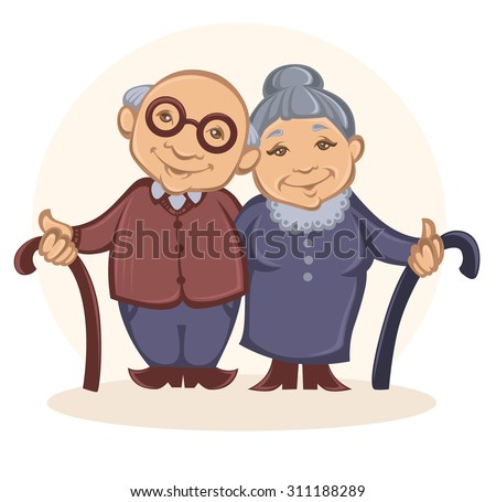 grandparents, vector image of happy old people in cartoon style - stock vector