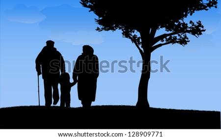 Grandparents with grandson and granddaughter - stock vector
