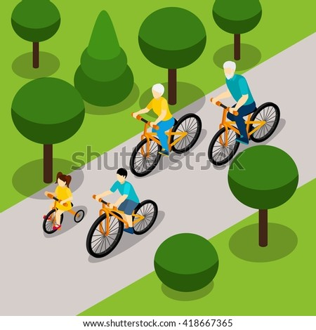 Grandparents with two children cycling in park isometric banner on  retired people active lifestyle abstract vector illustration - stock vector