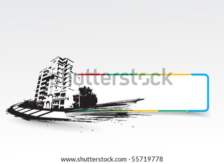 Grange style , urban city with banner in white background, vector illustration. - stock vector