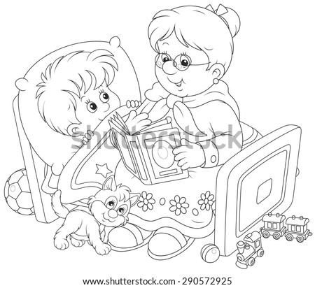 Granny and grandson reading fairytales - stock vector