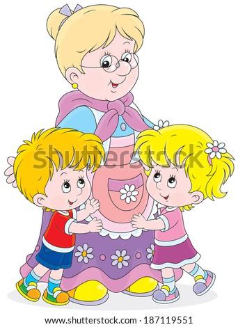 Granny and her grandchildren - stock vector