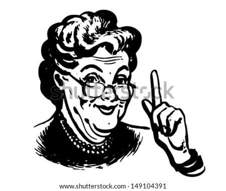 Granny Knows - Retro Clip Art Illustration - stock vector