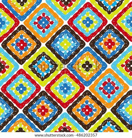 Granny Squares Pattern Ripples Afghan Crochet Stock-Vektorgrafik ...