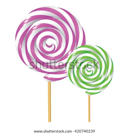 Grape and Kiwi Twisted Lollipops Isolated on White. Purple and Green Spiral Candies. Low Poly Realistic Vector illustration.