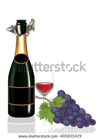Grape,Bottle wine and Glass wine on white background,Vector illustration