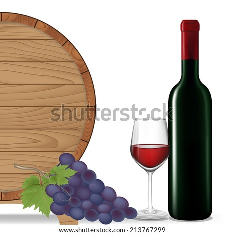 Grape,Bottle wine,Glass wine and wooden barrel isolated on white background,Vector illustration - stock vector