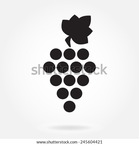 Grape icon or sign isolated on white background. Vector illustration. Design element for winemaking, viticulture, wine house. - stock vector