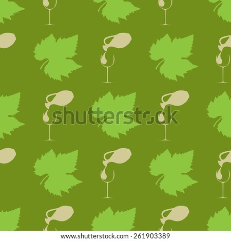 Grape seamless background, vector illustration glass with a jug of wine - stock vector
