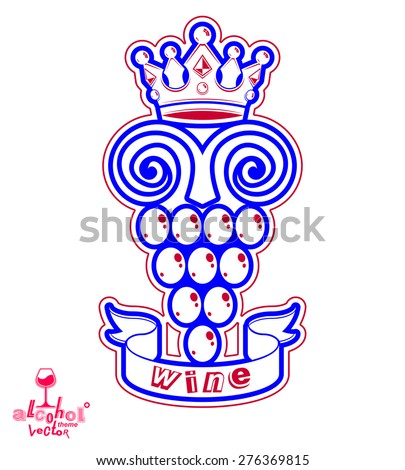 Grape vine illustration with royal crown winery or conceptual symbol. Simple design element, best for use in advertising.