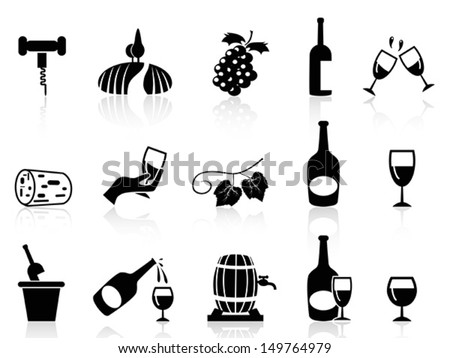 grape wine icons set - stock vector