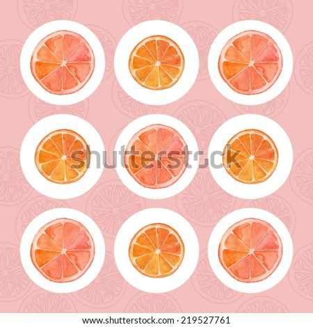 Grapefruit and orange slices on a white circled - stock vector