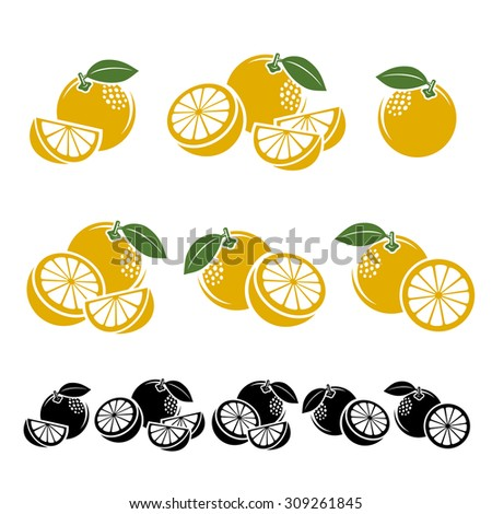 Grapefruit set. Vector - stock vector