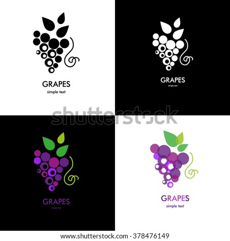 Grapes icon. Grapes wine or grapes juice. Grapes with green leaf isolated. Organic grapes sign. Fruits and vegetables.