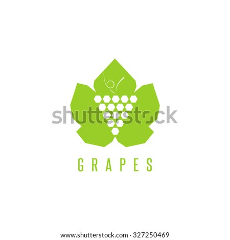 Grapes logo winemaking mark, bunch of grapes on a green leaf mockup design element for wine emblem - stock vector