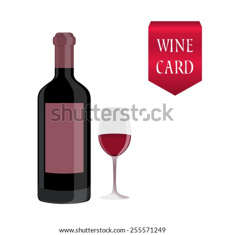 Grapes with a bottle of wine and full glass. - stock vector