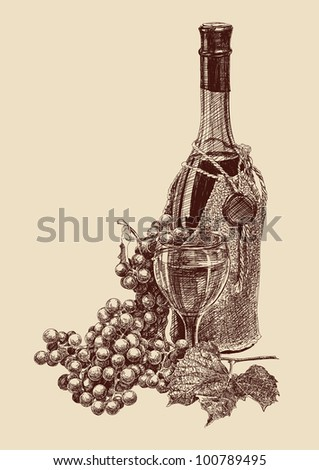 grapes with a bottle of wine drawing vector illustration - stock vector