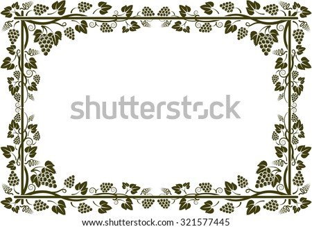 grapevine silhouette frame - stock vector