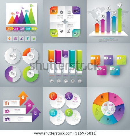 Graph and Infographic design template can be used for workflow layout, diagram, number options, web design. Business concept with 3, 4, and 5 options, parts, steps or processes.  - stock vector