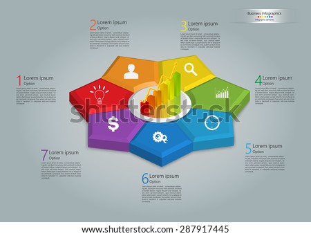 Graph/Chart Icon on Colorful Kite 3D, 7 Steps, Flower Design, Business Icon, Number and Text Informations, Business Infographics Template. Vector Illustration. - stock vector