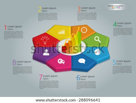 Graph/Chart Icon on Colorful Kite 3D, 8 Steps, Flower Design, Business Icon, Number and Text Informations, Business Infographics Template. Vector Illustration. - stock vector