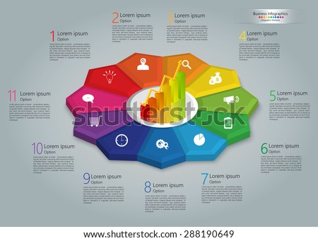 Graph/Chart Icon on Colorful Kite 3D, 11 Steps, Flower Design, Business Icon, Number and Text Informations, Business Infographics Template. Vector Illustration. - stock vector
