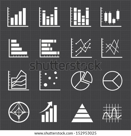 Graph chart icons and black background - stock vector