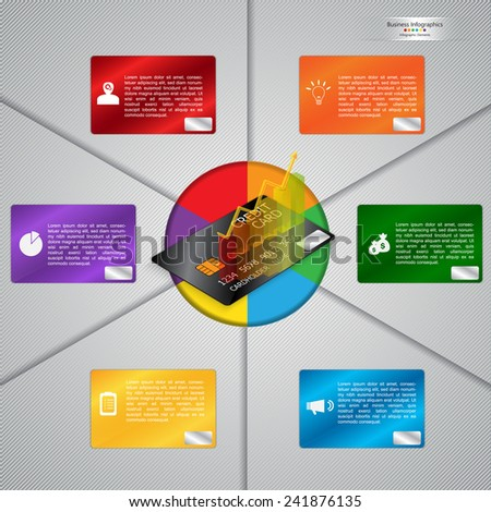 Graph/Chart on Credit Card Design With Color Credit Card Element. Economics & Finance Infographics. Workflow/Element Layout Design. Vector Illustration. - stock vector