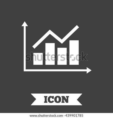 Graph chart sign icon. Diagram symbol. Statistics. Graphic design element. Flat chart symbol on dark background. Vector