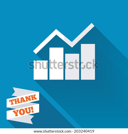 Graph chart sign icon. Diagram symbol. Statistics. White flat icon with long shadow. Paper ribbon label with Thank you text. Vector