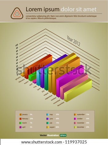 graph 3d vector for year - stock vector