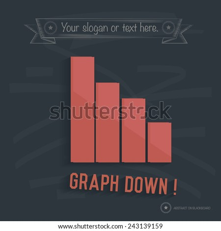 Graph down on blackboard background,clean vector - stock vector