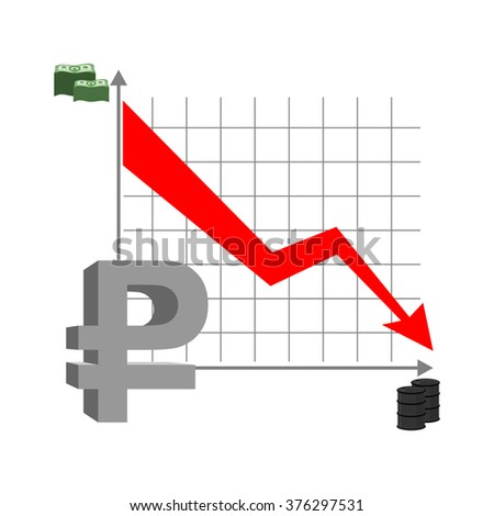 Graph fall ruble. Russian currency flies down. Quotation mark Russian money. Red arrow down. Reducing cost of  barrel of oil. Stacks of money and barrel of oil. Business infographics.  - stock vector