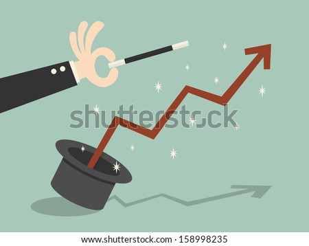 Graph flying out of the magic hat - stock vector