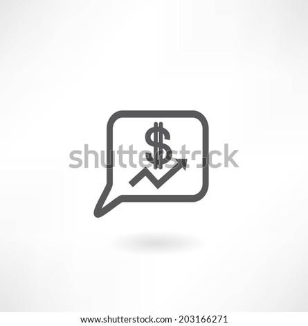 graph icon dollar icon - stock vector