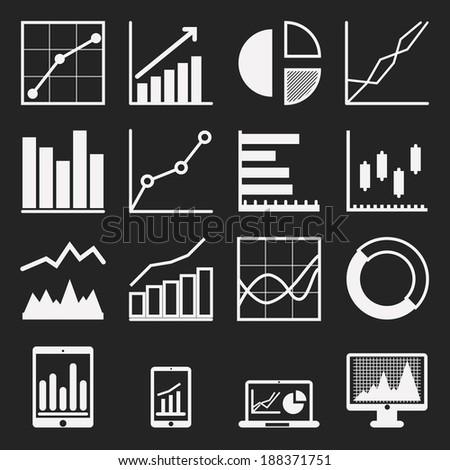 graph icons  - stock vector